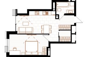 ЖК Creator City: планировка 1-комнатной квартиры 47.04 м²