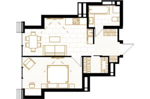 ЖК Creator City: планировка 1-комнатной квартиры 44.82 м²