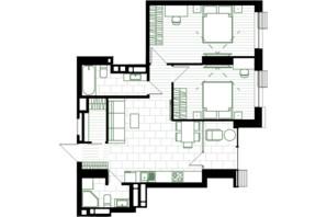 ЖК Creator City: планировка 2-комнатной квартиры 68.89 м²