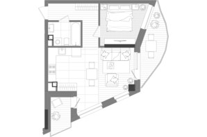 ЖК Creator City: планировка 1-комнатной квартиры 48.34 м²