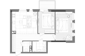 ЖК Creator City: планировка 2-комнатной квартиры 66.72 м²