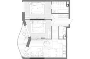 ЖК Creator City: планировка 2-комнатной квартиры 66.42 м²