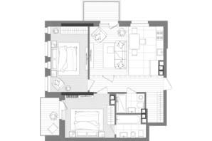 ЖК Creator City: планировка 3-комнатной квартиры 73.59 м²