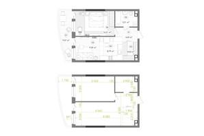 ЖК Creator City: планировка 1-комнатной квартиры 52.13 м²