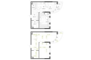 ЖК Creator City: планировка 1-комнатной квартиры 52.52 м²