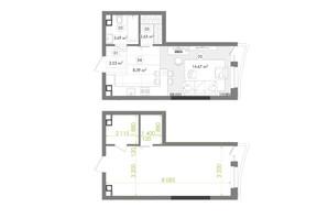 ЖК Creator City: планировка 1-комнатной квартиры 31.91 м²