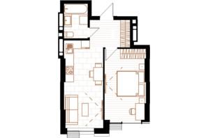 ЖК Creator City: планування 1-кімнатної квартири 41.57 м²