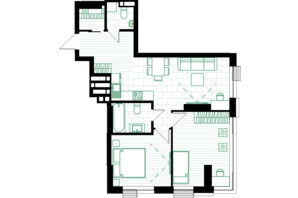 ЖК Creator City: планування 2-кімнатної квартири 64.54 м²