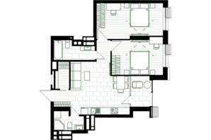 ЖК Creator City: планування 2-кімнатної квартири 69.34 м²