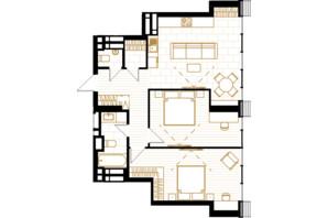 ЖК Creator City: планування 2-кімнатної квартири 73.46 м²