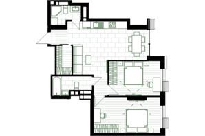 ЖК Creator City: планування 2-кімнатної квартири 68.64 м²