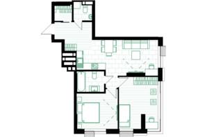 ЖК Creator City: планування 2-кімнатної квартири 65.08 м²