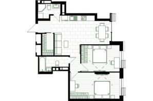 ЖК Creator City: планування 2-кімнатної квартири 69.09 м²