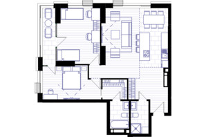 ЖК Creator City: планування 3-кімнатної квартири 91.67 м²