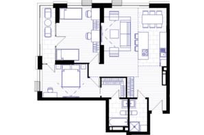 ЖК Creator City: планування 3-кімнатної квартири 92.26 м²