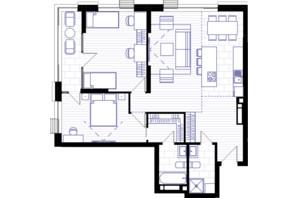 ЖК Creator City: планування 3-кімнатної квартири 92.93 м²
