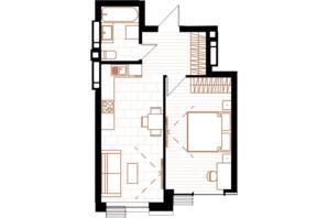 ЖК Creator City: планування 1-кімнатної квартири 42.03 м²