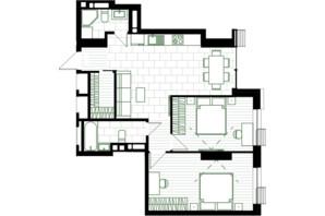ЖК Creator City: планування 2-кімнатної квартири 68.19 м²