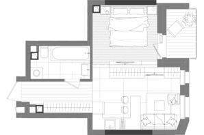 ЖК Creator City: планування 1-кімнатної квартири 35.65 м²