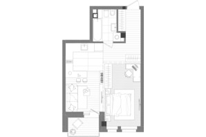 ЖК Creator City: планування 1-кімнатної квартири 46.5 м²
