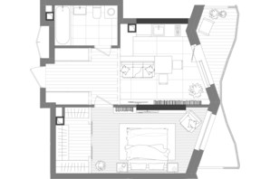 ЖК Creator City: планування 1-кімнатної квартири 48.21 м²
