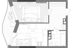 ЖК Creator City: планування 1-кімнатної квартири 43.58 м²