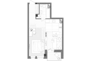 ЖК Creator City: планування 1-кімнатної квартири 46.51 м²