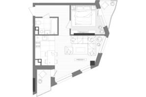 ЖК Creator City: планування 1-кімнатної квартири 49.2 м²