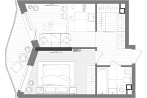 ЖК Creator City: планування 1-кімнатної квартири 42.46 м²