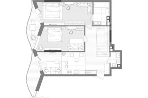 ЖК Creator City: планування 2-кімнатної квартири 93.5 м²