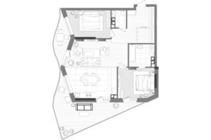 ЖК Creator City: планування 3-кімнатної квартири 95.44 м²
