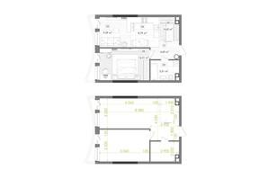 ЖК Creator City: планування 1-кімнатної квартири 49.41 м²