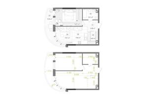 ЖК Creator City: планування 1-кімнатної квартири 53.32 м²