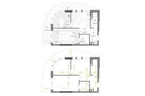 ЖК Creator City: планування 2-кімнатної квартири 58.83 м²