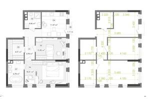 ЖК Creator City: планування 2-кімнатної квартири 66.8 м²