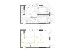 ЖК Creator City: планування 2-кімнатної квартири 71.32 м²