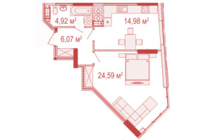 ЖК Crystal Avenue: планировка 1-комнатной квартиры 50.56 м²