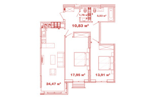 ЖК Crystal Avenue: планировка 2-комнатной квартиры 74.45 м²