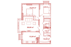 ЖК Crystal Avenue: планировка 3-комнатной квартиры 80.63 м²
