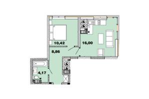 ЖК Crystal Avenue: планировка 1-комнатной квартиры 39.44 м²