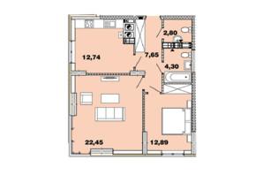 ЖК Crystal Avenue: планировка 2-комнатной квартиры 62.82 м²