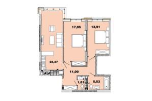 ЖК Crystal Avenue: планировка 2-комнатной квартиры 74.67 м²