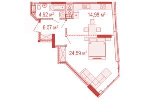 ЖК Crystal Avenue: планування 1-кімнатної квартири 50.56 м²