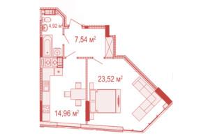 ЖК Crystal Avenue: планування 1-кімнатної квартири 50.94 м²