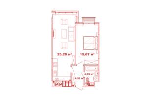 ЖК Crystal Avenue: планування 1-кімнатної квартири 49.42 м²