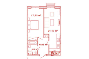 ЖК Crystal Avenue: планування 1-кімнатної квартири 49.72 м²