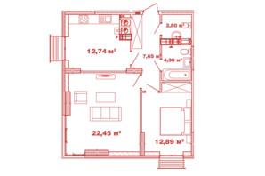 ЖК Crystal Avenue: планування 2-кімнатної квартири 62.83 м²