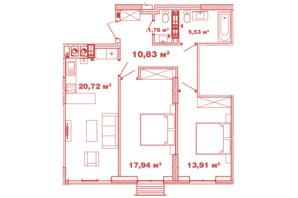 ЖК Crystal Avenue: планування 2-кімнатної квартири 70.69 м²