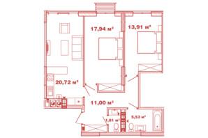 ЖК Crystal Avenue: планування 2-кімнатної квартири 70.91 м²