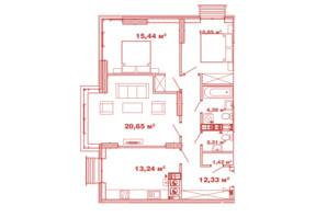 ЖК Crystal Avenue: планування 3-кімнатної квартири 80.63 м²